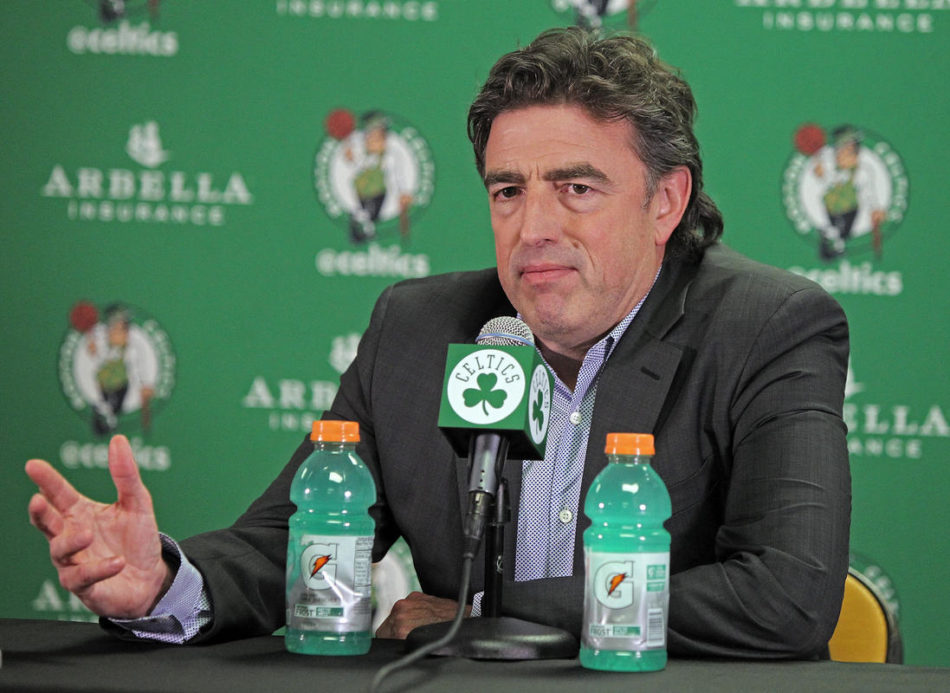 (Boston, MA, 06/23/16) Wyc Grousbeck, CEO and co-owner of the Boston Celtics talks to the media during Celtics draft party at TD Garden on Thursday, June 23, 2016. Staff photo by Matt Stone