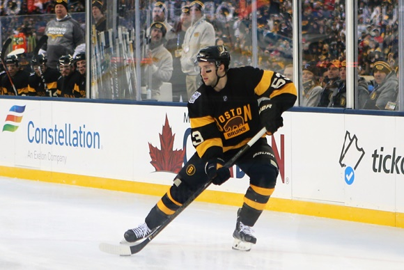 01 January 2016: Boston Bruins right wing Seth Griffith (53) [9229] looks to center the puck. The Montreal Canadiens defeated the Boston Bruins 5-1 in the NHL Bridgestone Winter Classic at Gillette Stadium in Foxborough, Massachusetts. (Photograph by Fred Kfoury III/Icon Sportswire)