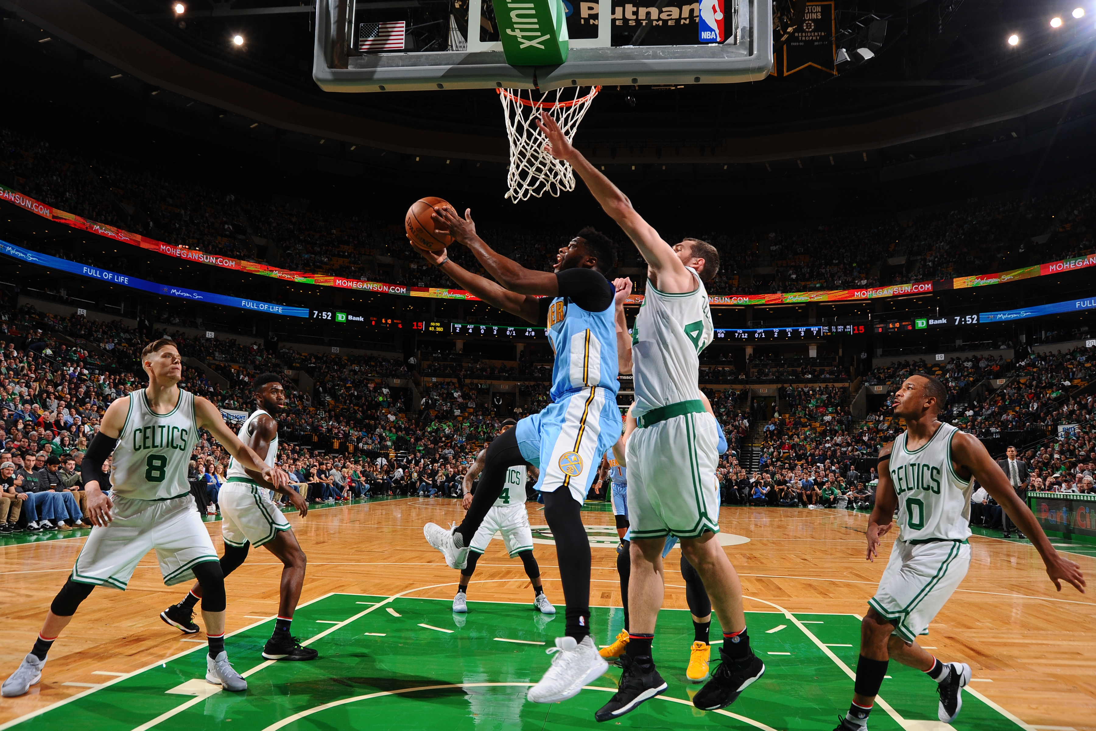 BOSTON, MA - NOVEMBER 6: Emmanuel Mudiay #0 of the Denver Nuggets shoots the ball against the Boston Celtics on November 6, 2016 at the TD Garden in Boston, Massachusetts. NOTE TO USER: User expressly acknowledges and agrees that, by downloading and or using this photograph, User is consenting to the terms and conditions of the Getty Images License Agreement. Mandatory Copyright Notice: Copyright 2016 NBAE (Photo by Brian Babineau/NBAE via Getty Images)